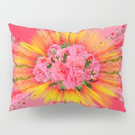 Coral Pink Roses Pillow Sham