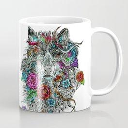 Floral Wolf. Coffee Mug