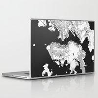 hong kong Laptop & iPad Skins featuring Hong Kong Map Gray by City Art Posters