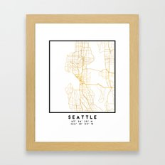 SEATTLE WASHINGTON CITY STREET MAP ART Framed Art Print