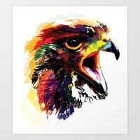 hawk Art Prints featuring Hawk by Eric Bassika