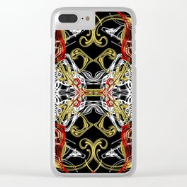 modern chic festive shiny metal pattern in red gold Clear iPhone Case