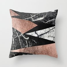 Elegant Modern Marble, Rose Gold, & Black Foil Triangles Throw Pillow