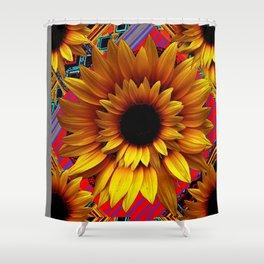 ANTIQUE GILDED ART DECO SUNFLOWERS Shower Curtain