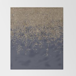 Navy Blue Gold Sparkly Glitter Ombre Throw Blanket