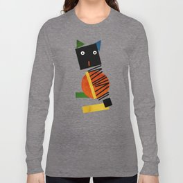 Black Square Cat - Suprematism Long Sleeve T-shirt