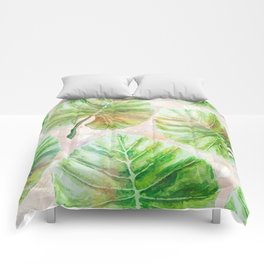 Pearlescent mosaic and plants Comforters