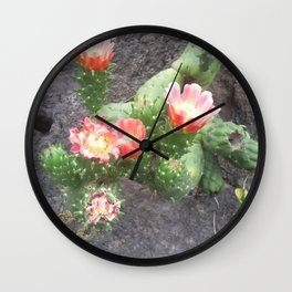 A cactus in its bloom Wall Clock