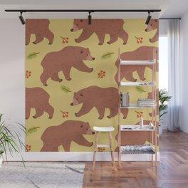 Bears & berries Wall Mural