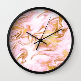 Rose Gold Marble Agate Geode Wall Clock