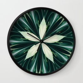 White Leaves In A Green Forest Kaleidoscope Wall Clock
