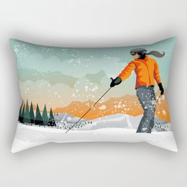Skier Looking Rectangular Pillow