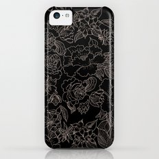 Pink coral tan black floral illustration pattern iPhone 5c Slim Case