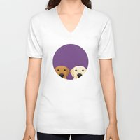 lab V-neck T-shirts featuring Tan Lab & Yellow Lab by Anne Was Here