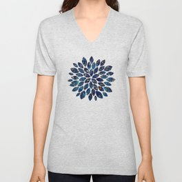 Dark blue stone marble abstract texture with gold streaks Unisex V-Neck