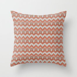 Chevrons and Sprockets - Raw Copper and Grey Repeating Pattern Throw Pillow