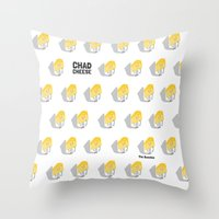 chad wys Throw Pillows featuring Chad Cheese by Infinite Awesome