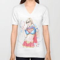 supergirl V-neck T-shirts featuring Supergirl by James Murlin