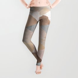 Copper and Blush Rose Gold Marble Argyle Leggings