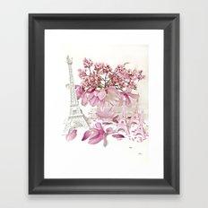 Pink Magnolia Spring Blossoms French Parisian Decor Framed Art Print