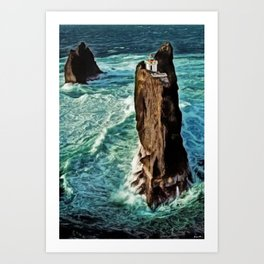 Þrídrangaviti lighthouse Iceland Seascape by Jeanpaul Ferro Art Print
