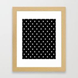 Black Background With White Stars Pattern Framed Art Print
