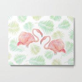 Flamingo Watercolour | Tropical Print | Palm Tree Leaves | Birds | Animals | Painting Metal Print