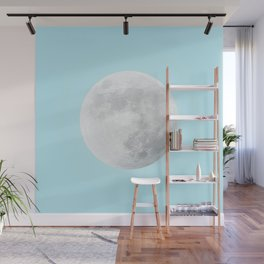 WHITE MOON + BLUE SKY Wall Mural