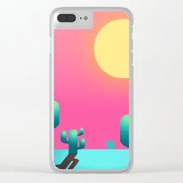 Cactus sunset Clear iPhone Case