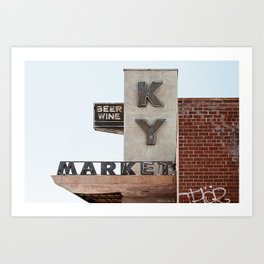 Vintage Neon Sign - KY Market - Tucson Arizona Art Print