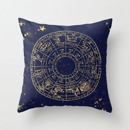 Metallic Gold Vintage Star Map Throw Pillow