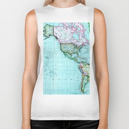 Turquoise Map Pattern Biker Tank