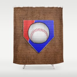 Baseball Base in Red and Blue with Sand Shower Curtain