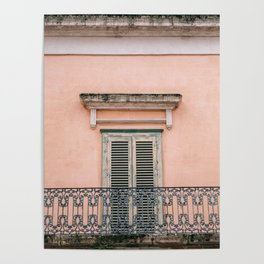 Old doors and balcony on a coral pink background in Italy Poster