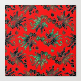 Vintage floral seamless pattern with hand drawn flowering crocus on the red background Canvas Print