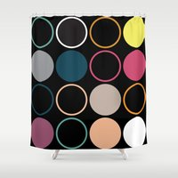 polka dots Shower Curtains featuring Polka Dots by CarreonMedia