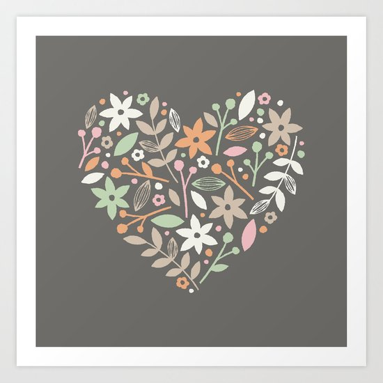 Floral Heart - in Charcoal Art Print