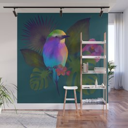 Tropical bird and exotic flowers summer painting Wall Mural