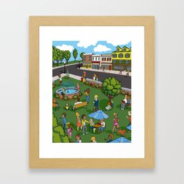 A Digital Day at the Fountain Framed Art Print