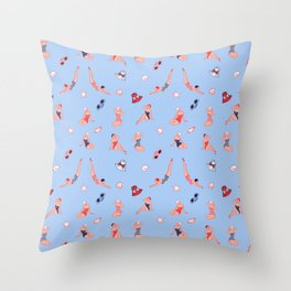 Retro Bathers in Baby Blue Throw Pillow