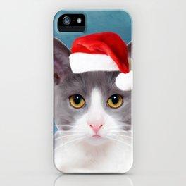Cat Art Portrait With Santa Hat iPhone Case