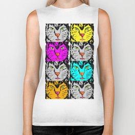 cat faces,visages de chat Biker Tank