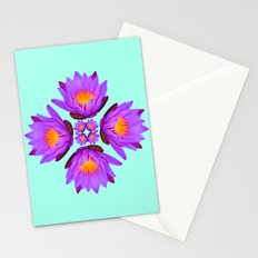 Purple Lily Flower - On Aqua Blue Stationery Cards