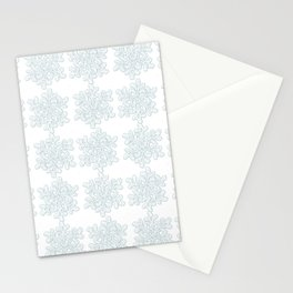 Crocheted Snowflake Ornaments - white on white with touch of teal Stationery Cards