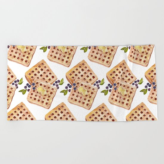 Blueberry Breakfast Waffles Beach Towel