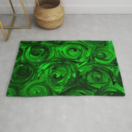 Apple Green and Onyx Glass Swirl Abstract Rug
