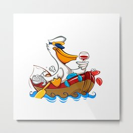 Cartoon pelican with captain's hat Metal Print