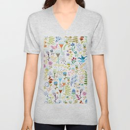 seamless pattern with bright multi-colored decorative flowers on a white background Unisex V-Neck