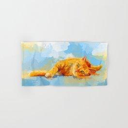 Cat Dream - orange tabby cat painting Hand & Bath Towel