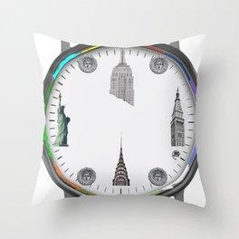 New York Landmarks Throw Pillow